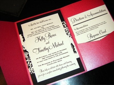 The Kelly and Tim Fushcia and Damask Pocketfold