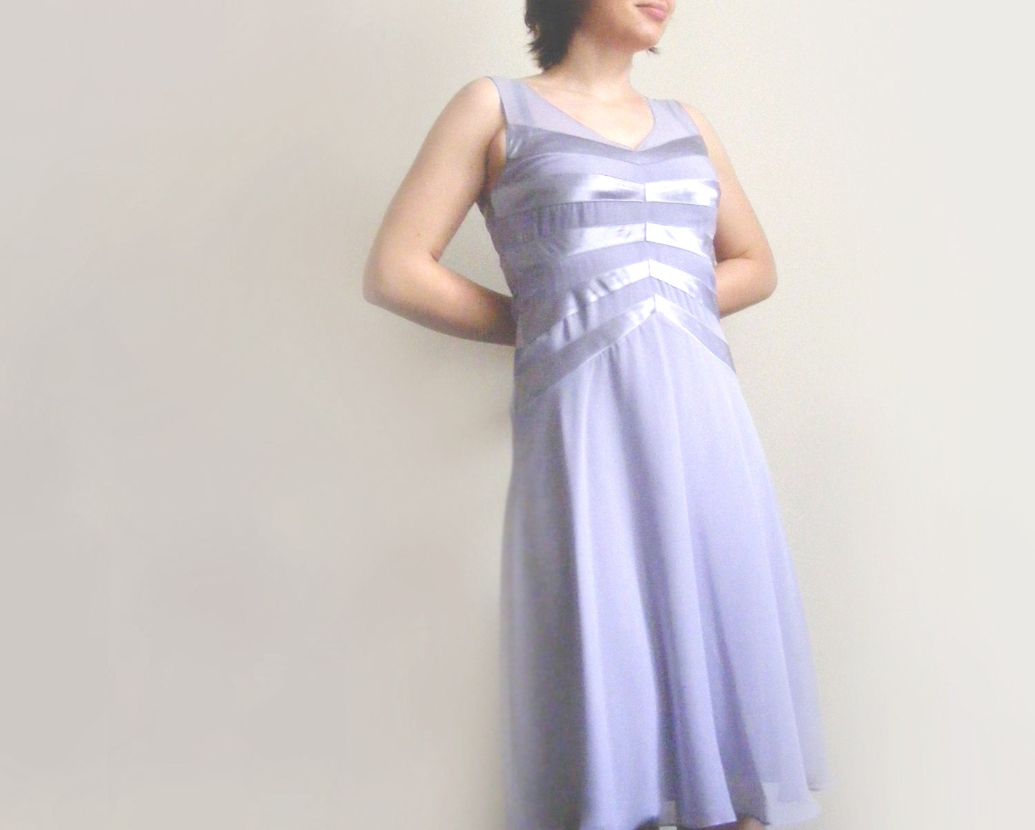 Aerial lilac dress, striped sheer dress, prom, light purple dress - plot