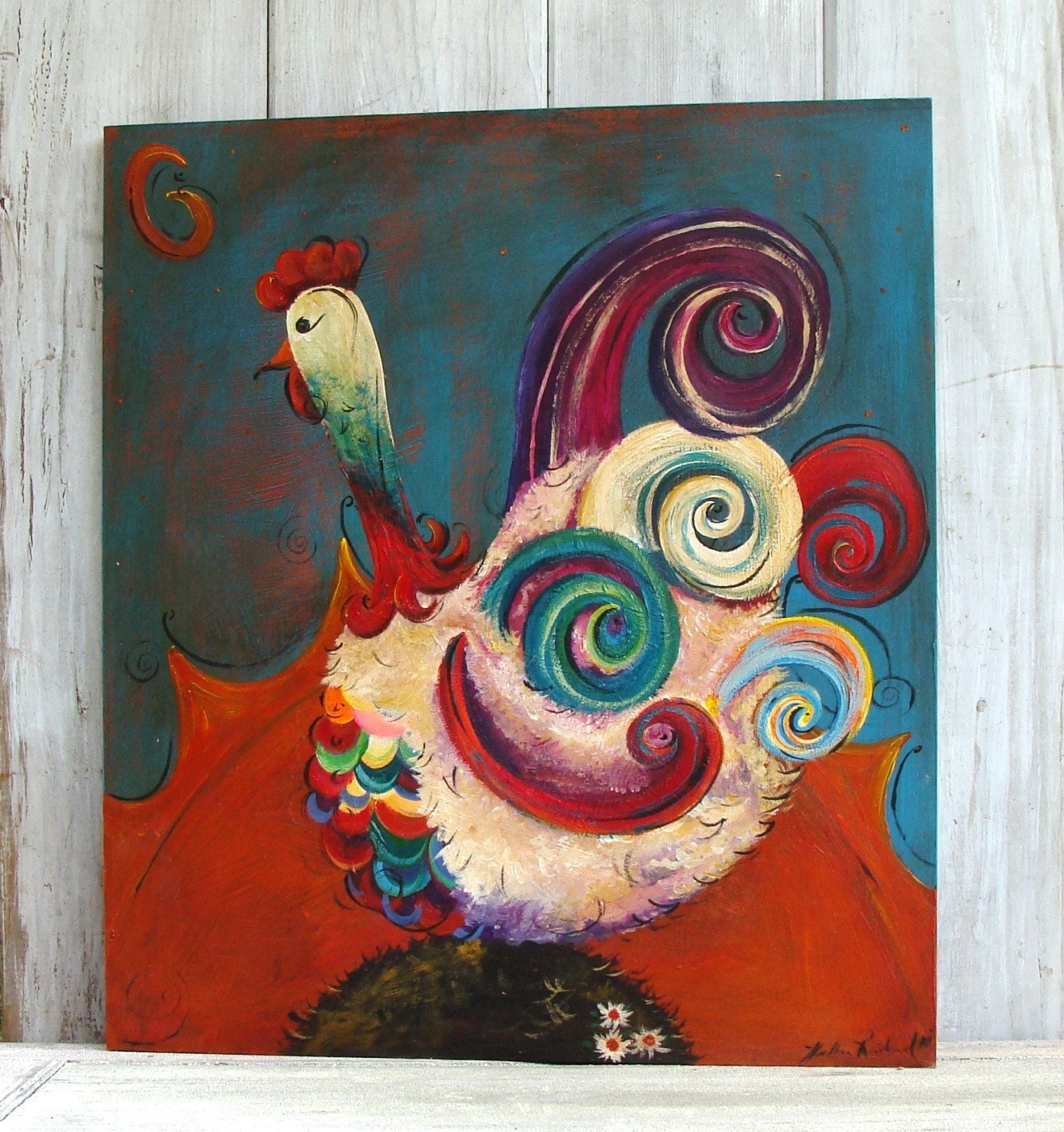 Original Folk-Art Painting - Good Morning Rooster