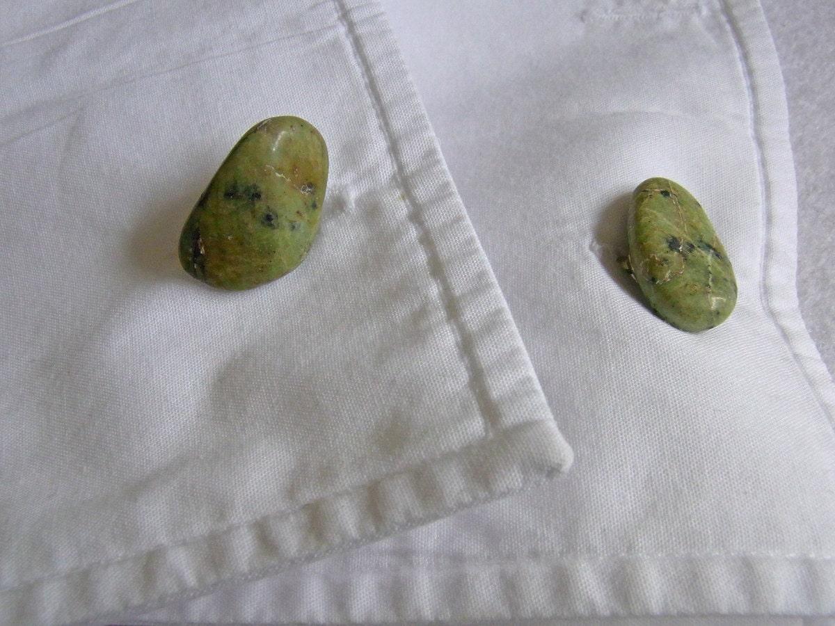 Green Shetland Island Serpentine Semi Precious Stone Cufflinks, Gifts under 10 pounds