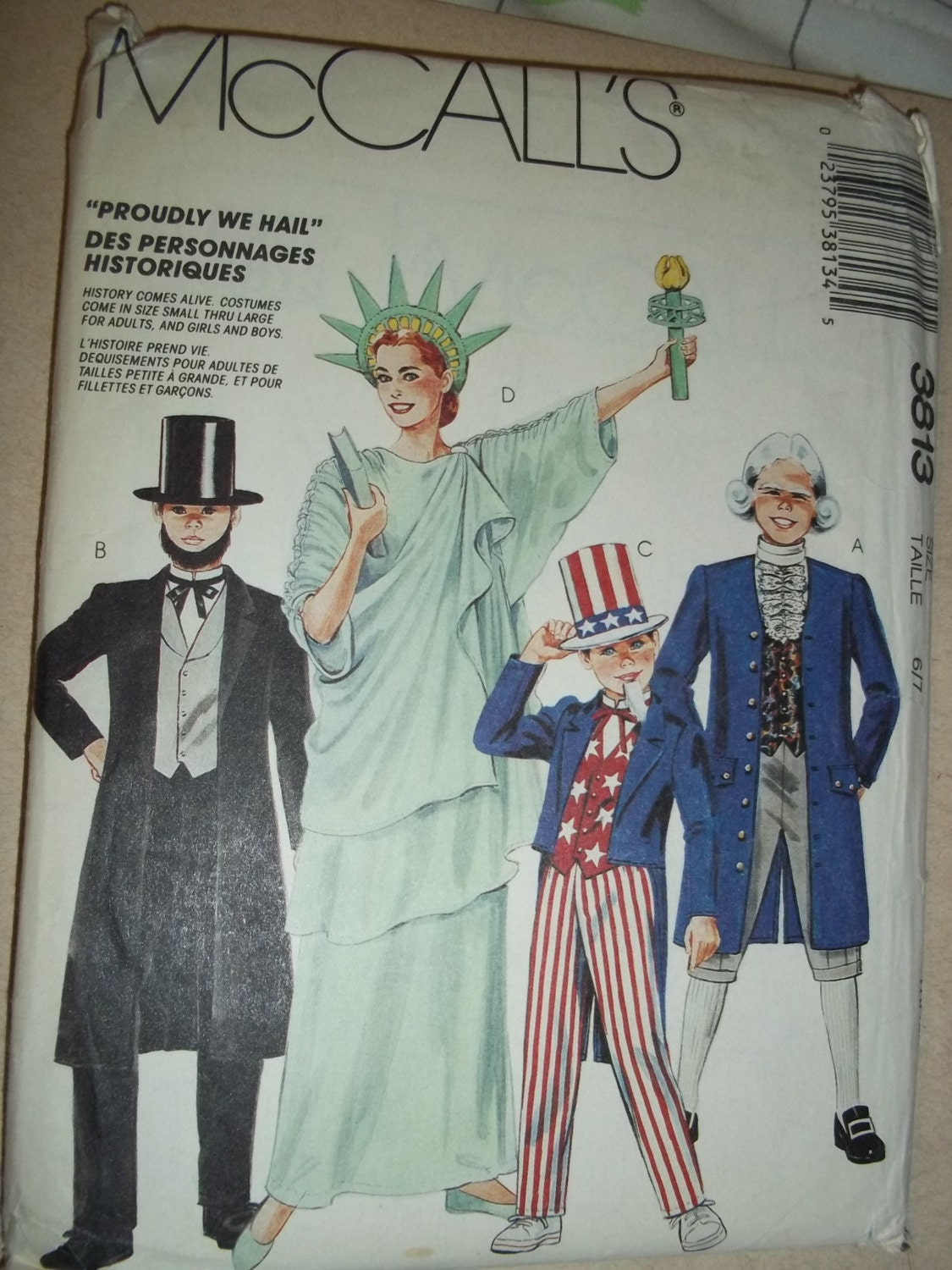 Sewing pattern of adult statue of liberty theme