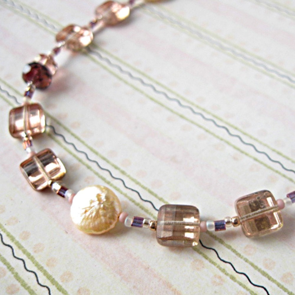 Copper Shimmer Czech Glass Freshwater Coin Pearl Necklace