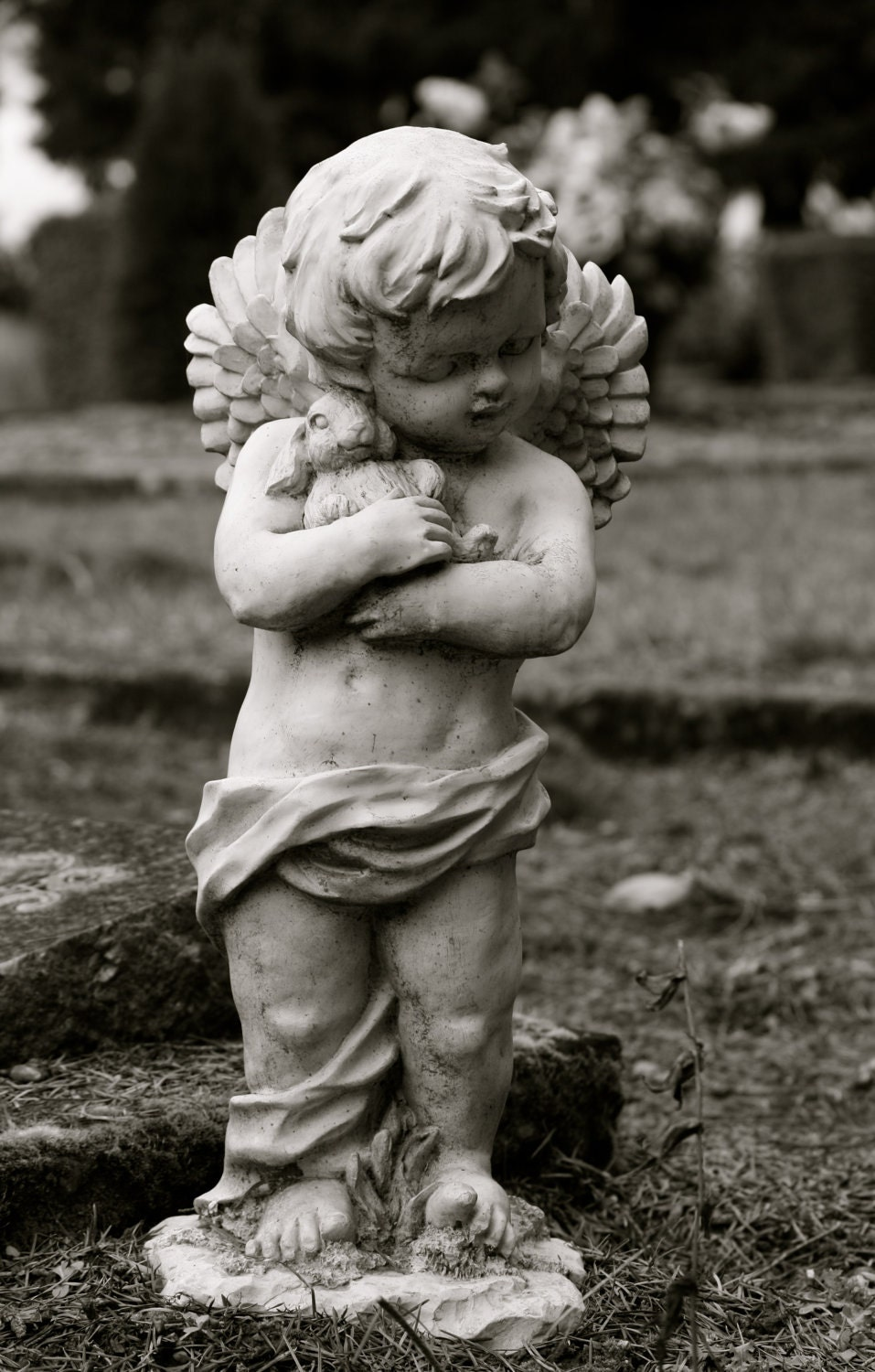 items similar to set of three garden statue cherub angel little boy holding his bunny easter. Black Bedroom Furniture Sets. Home Design Ideas