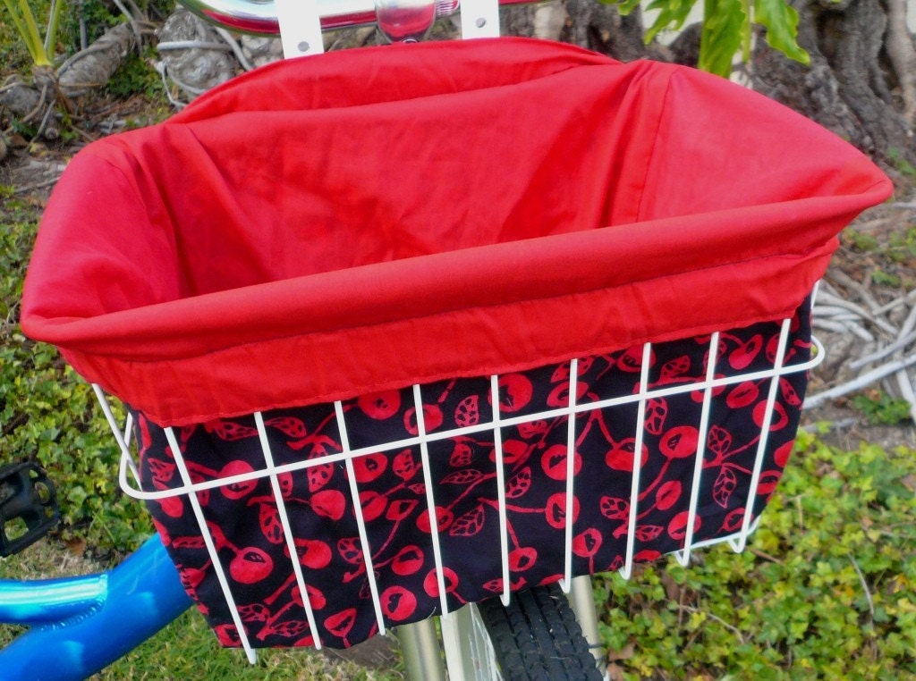 Cherries Galore Bike Basket Liner / Sewing Machine / Mixer Cover