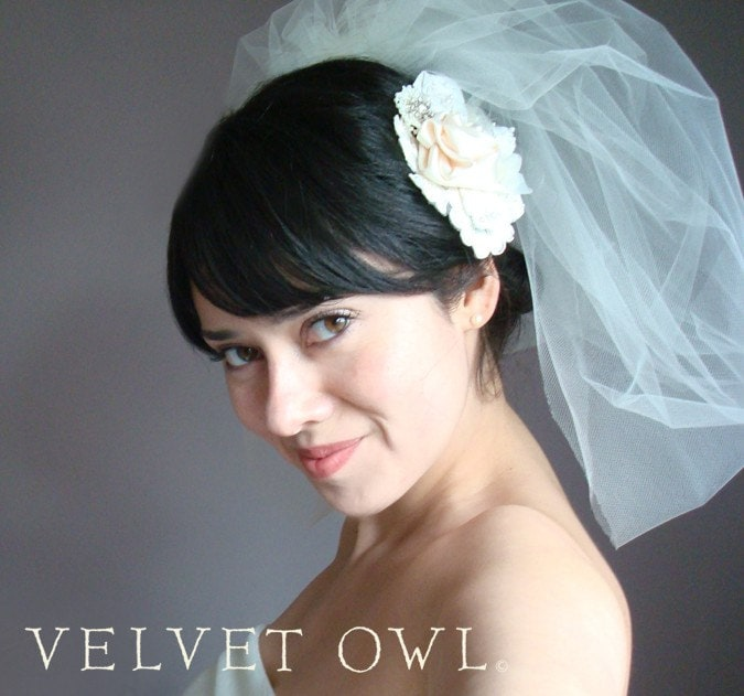Monique- Ivory dupioni flower hair comb and detach Ivory Pouf veil, bubble veil