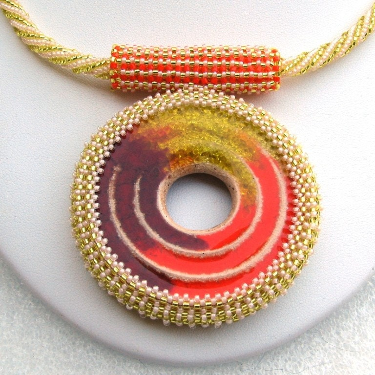 The Citrus Springs - A Beadwoven Necklace with Stoneware Donut Focal (2517)