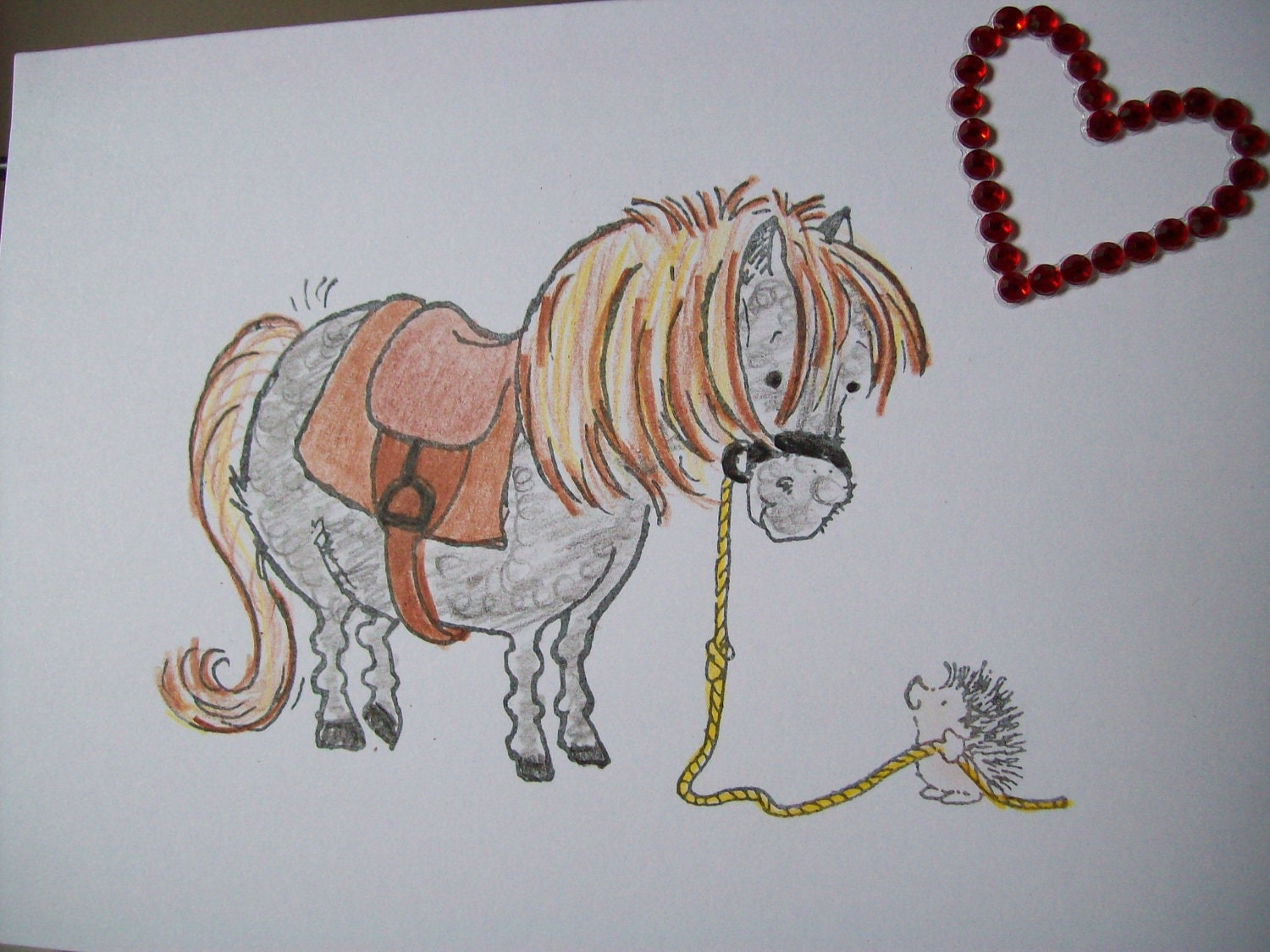 At the end of your rope you will find me blank shetland pony with hedge hog card