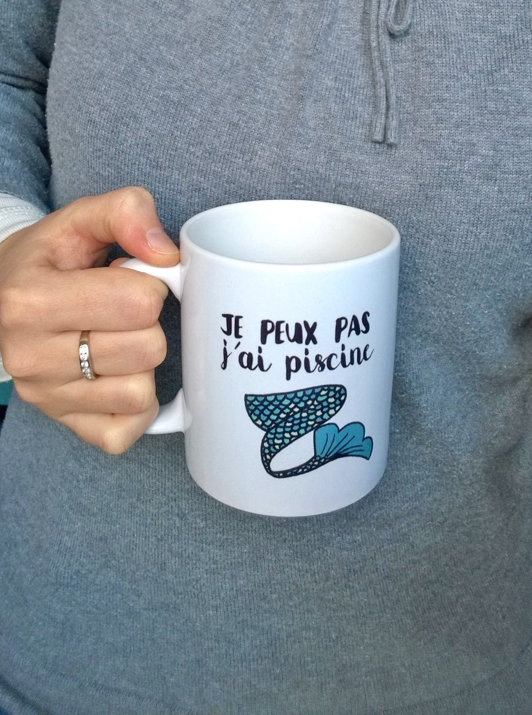 Image du produit Mug Sirne Je peux pas jai piscine Mug Procrastination Mug Drle