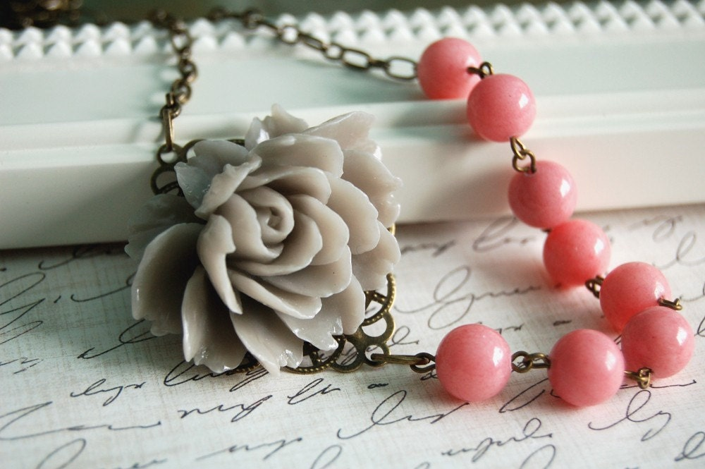 Asymmetrical Gray and Pink Rose Necklace