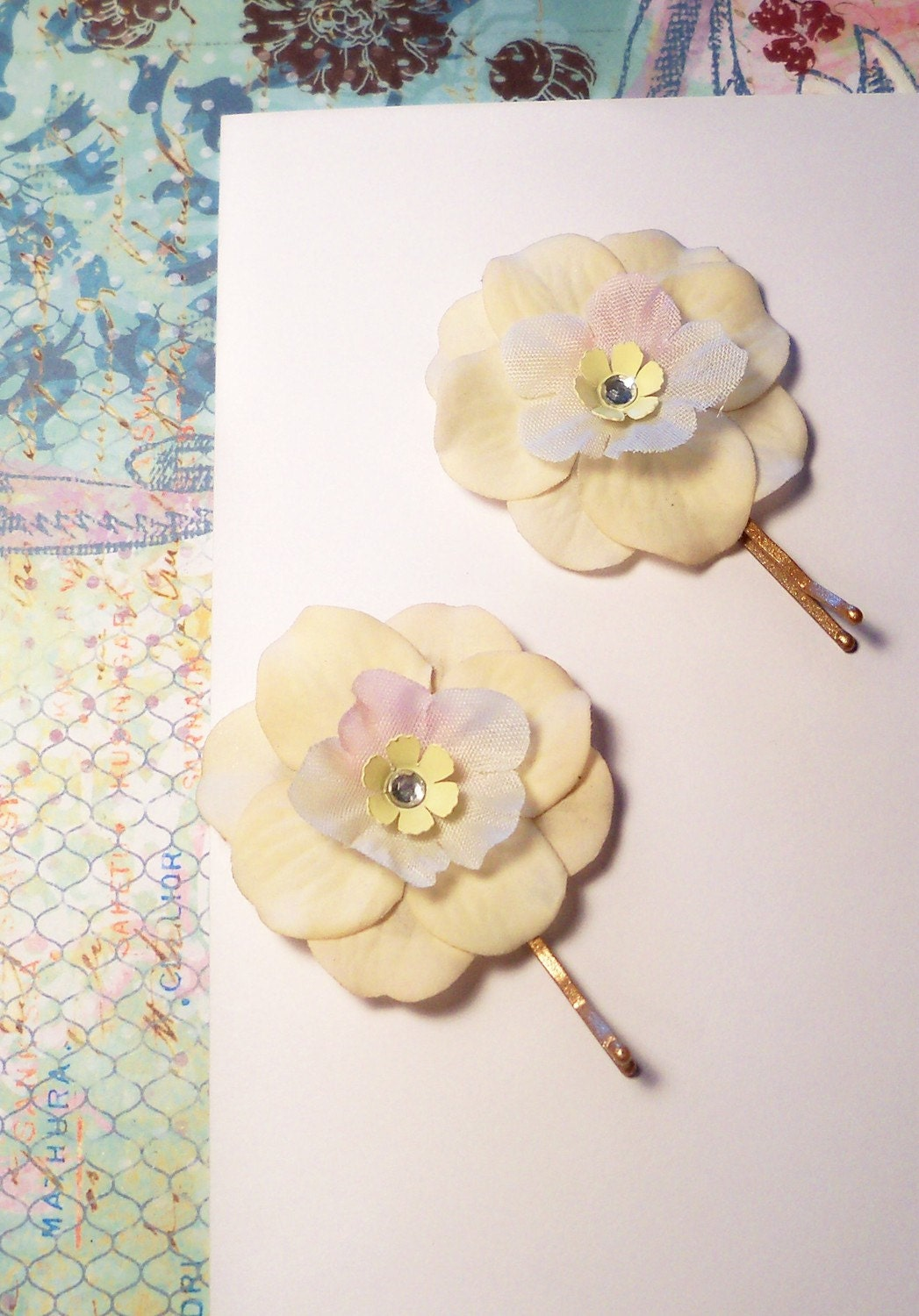 Cream, White and Pale Pink Flower Hair Clips Bobby Pins