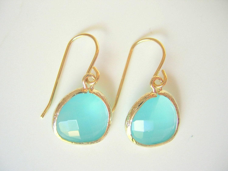 Aqua Glass Gold Trimmed Earrings