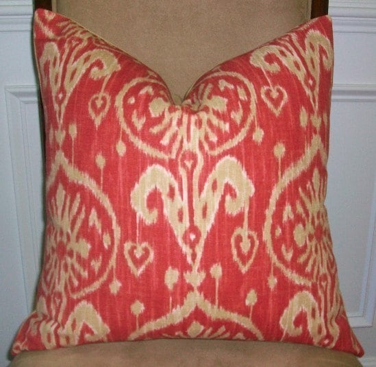 NEW DESIGNER DECORATIVE PILLOW COVER - 20X20 - IKAT PRINT IN HOT RED AND TAUPE