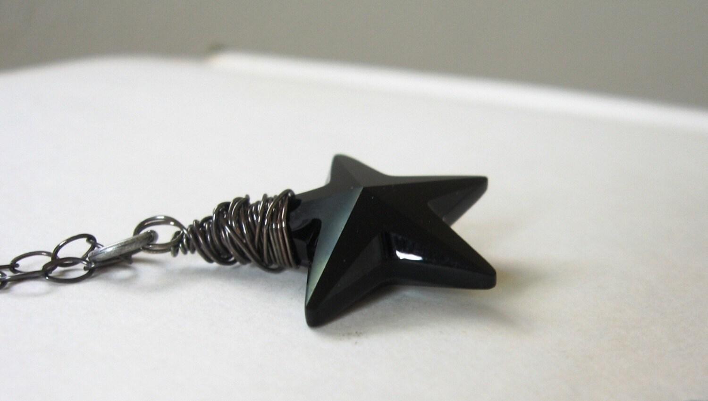 Jet Black Star Pendant Wrapped in Oxidized Sterling Silver- Stargazer