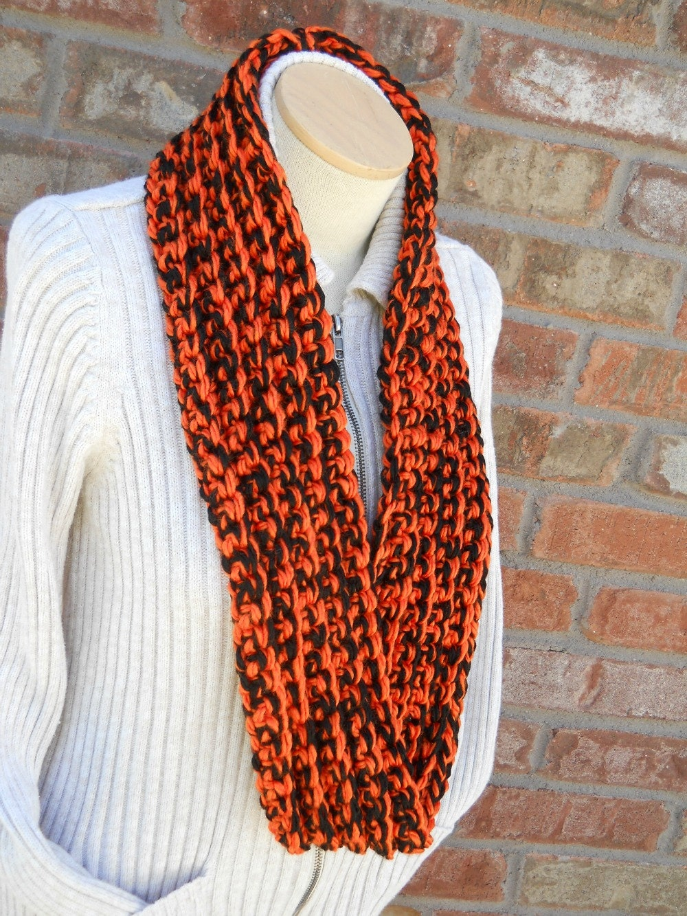 chunky scarf football team colors orange and by foreverandrea