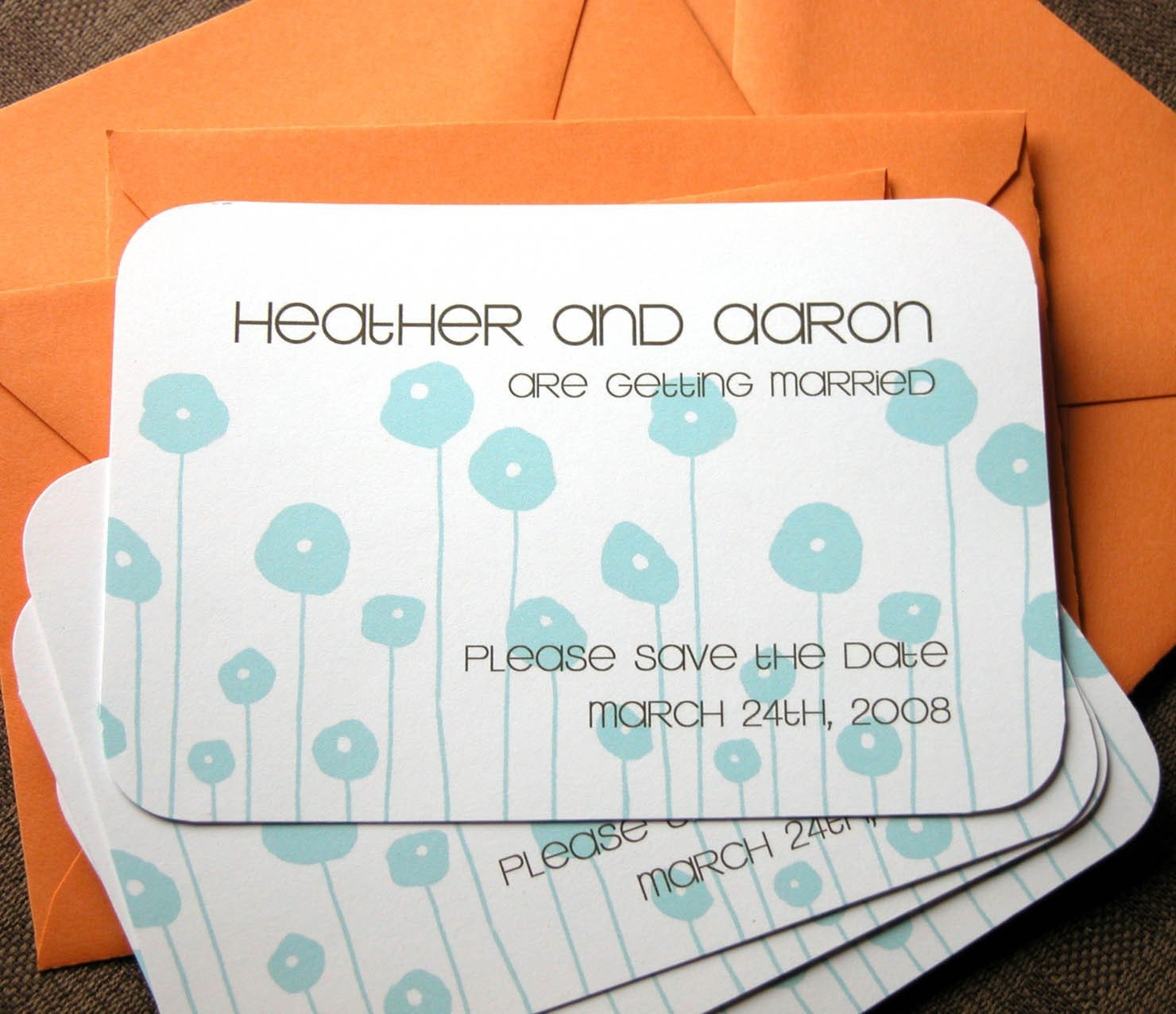 25-Save the Date Cards with Aqua Poppies and Brown Text-Orange Envelopes