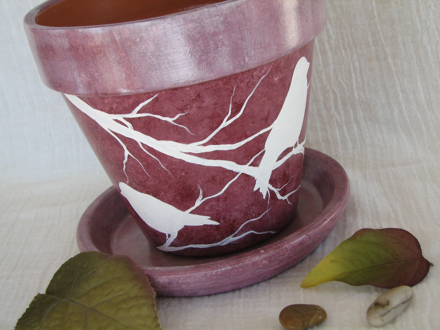 Decorative flower pot painted clay planter by naturesheavenlyart