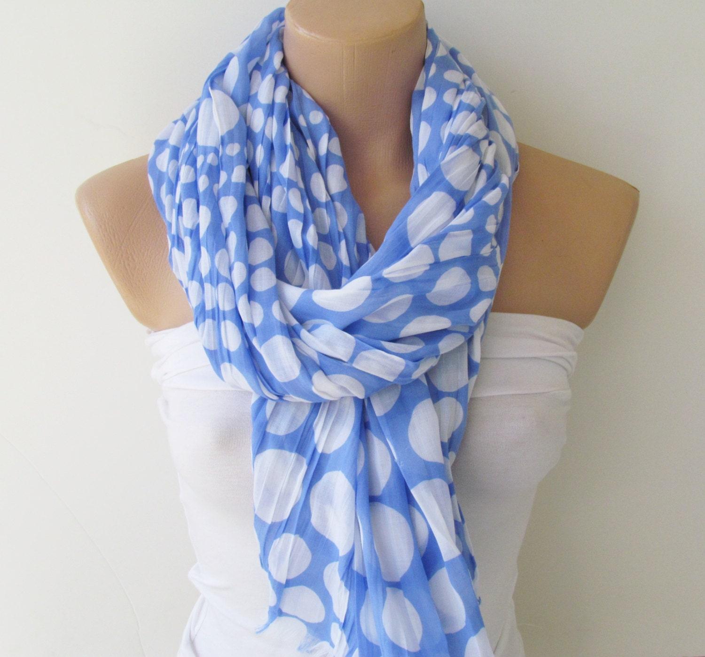 Oversize Blue and White Polka Dot Scarf -Fall Fashion Scarf-Headband-Beach Pareo- Infinity Scarf- Beach Sarong-Long Scarf-New Season - YADISHACCESSORIES