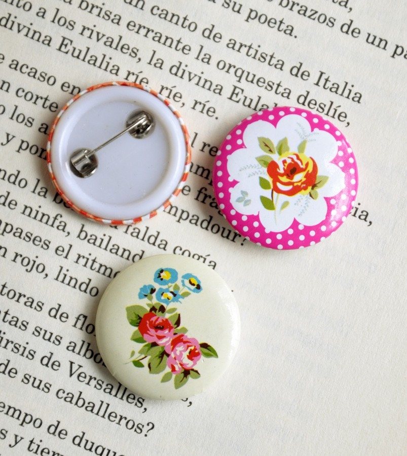 Shabby roses - set of three pinback buttons