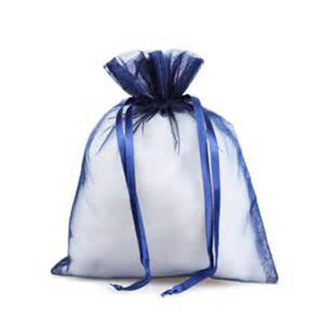 Bag, Organza, Navy Blue, Satin Drawstring 3 x 4 Package of 5