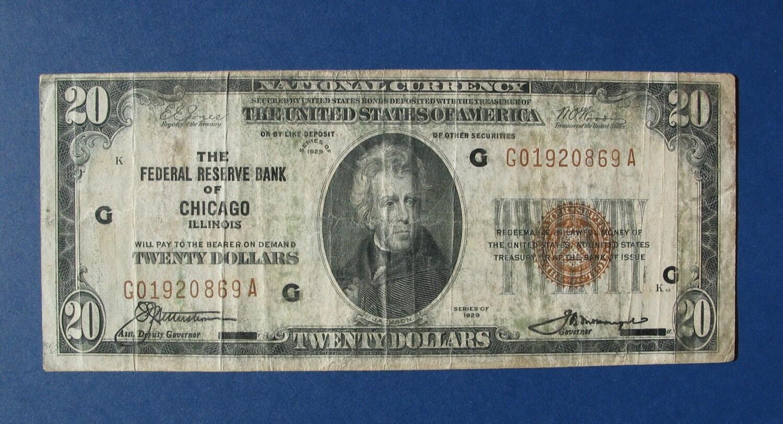 Items similar to 1929 U.S. 20 dollar bill, note. Federal ...