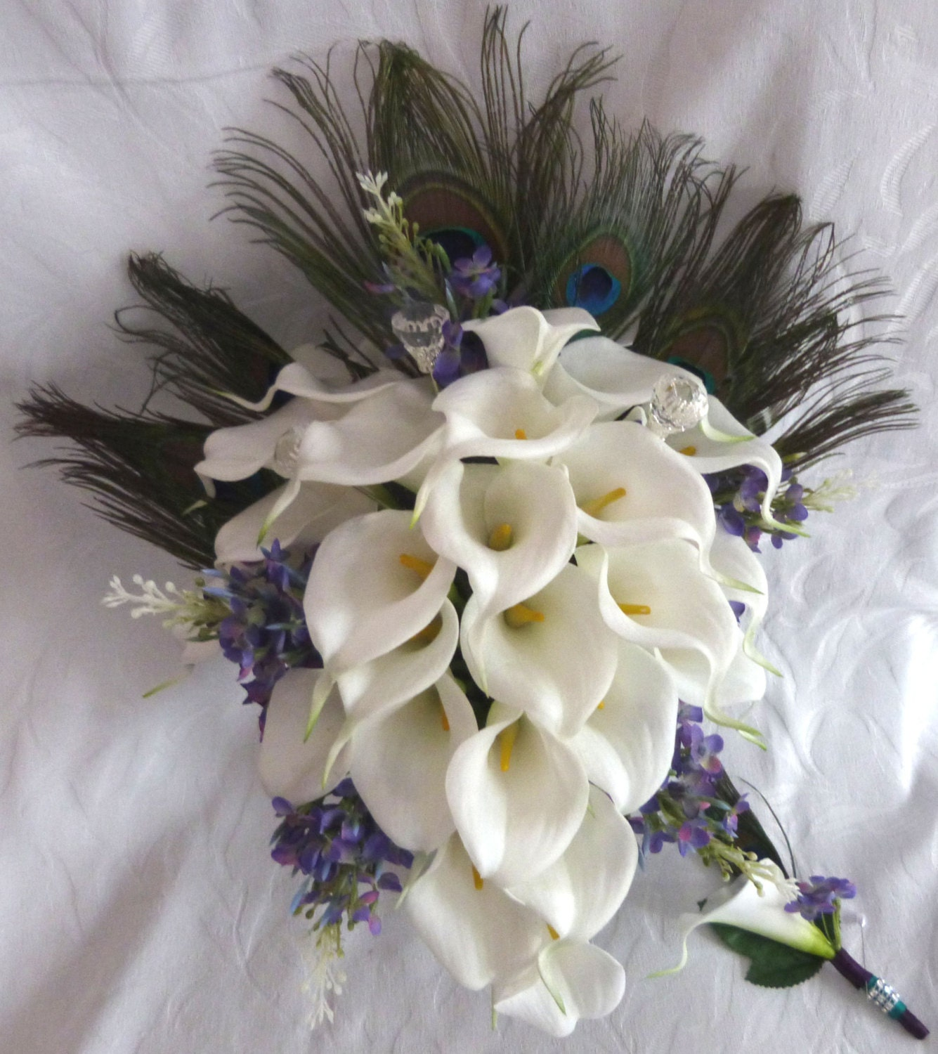 White Wedding Bouquets With Peacock Feathers : Calla lily wedding bouquet elegant real by