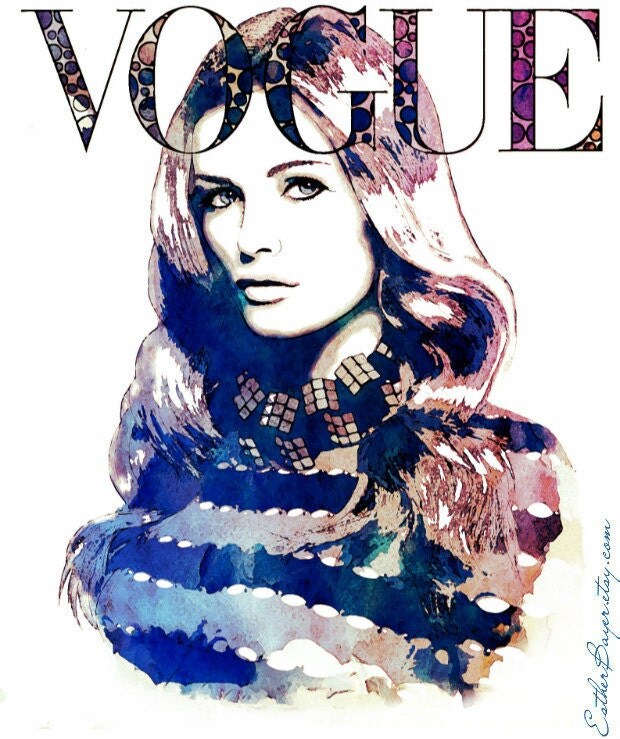 Original Watercolor Ink Vogue Deutsch Cover Fashion Illustration Painting Art Print