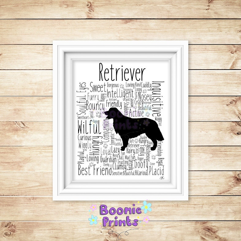 Retriever Print Art Work Typography On A4 Top Quality Card 10x8