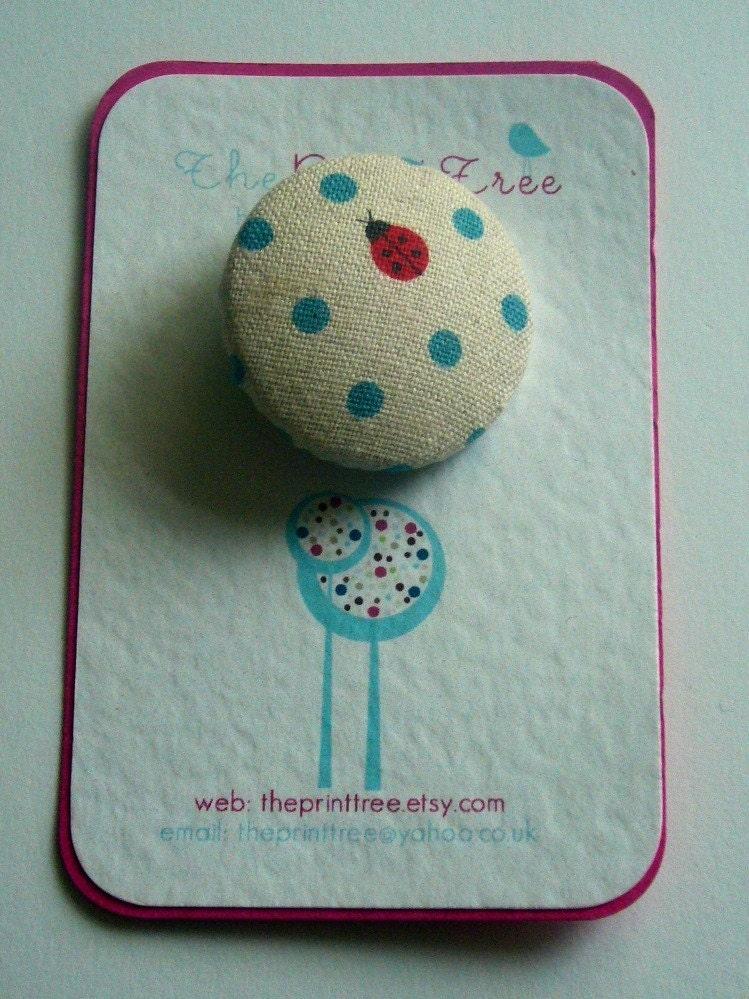 Ladybug Button Brooch