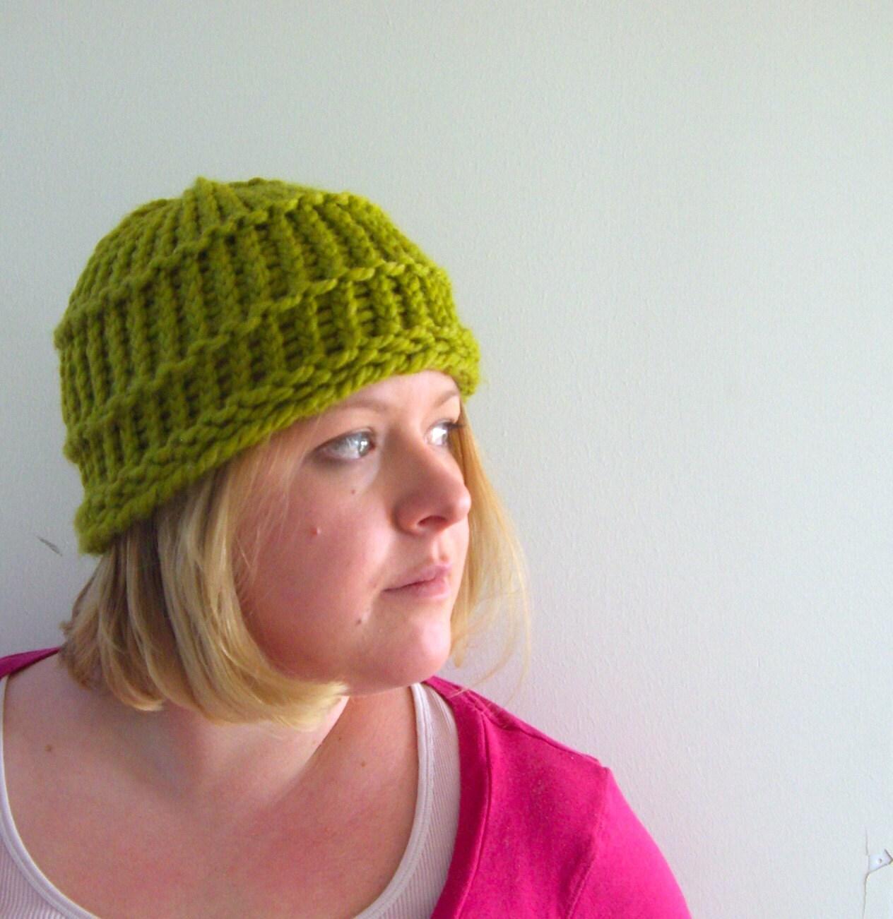 Knit spring hat in Lemon Grass Green  faces of utahetsy