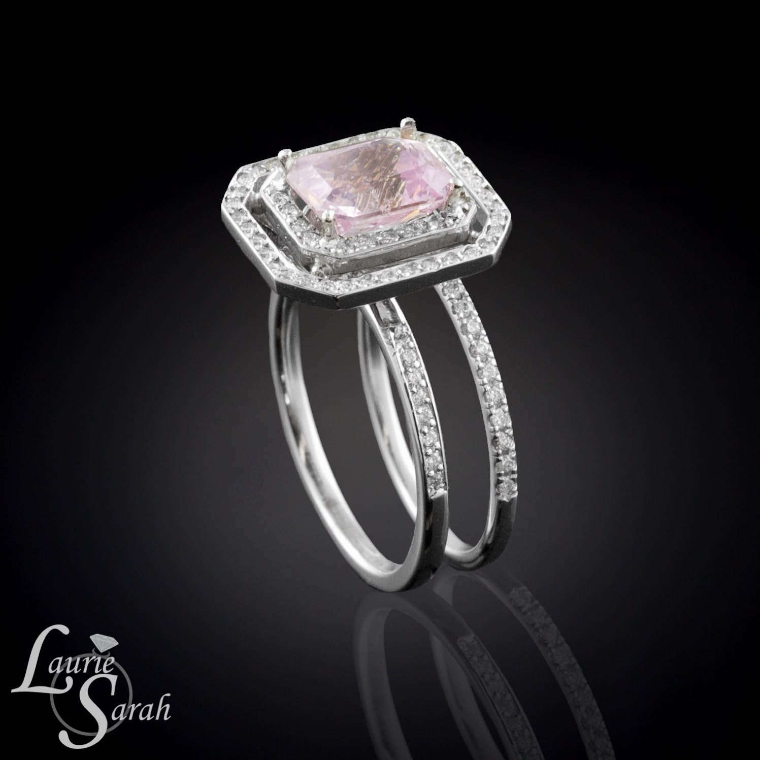 Rectangle Cushion Cut Pink Sapphire Wedding by LaurieSarahDesigns