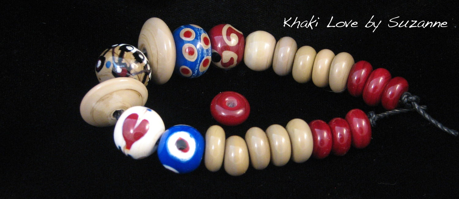 Khaki Love  by Suzanne     -      (set - lampwork glass beads)