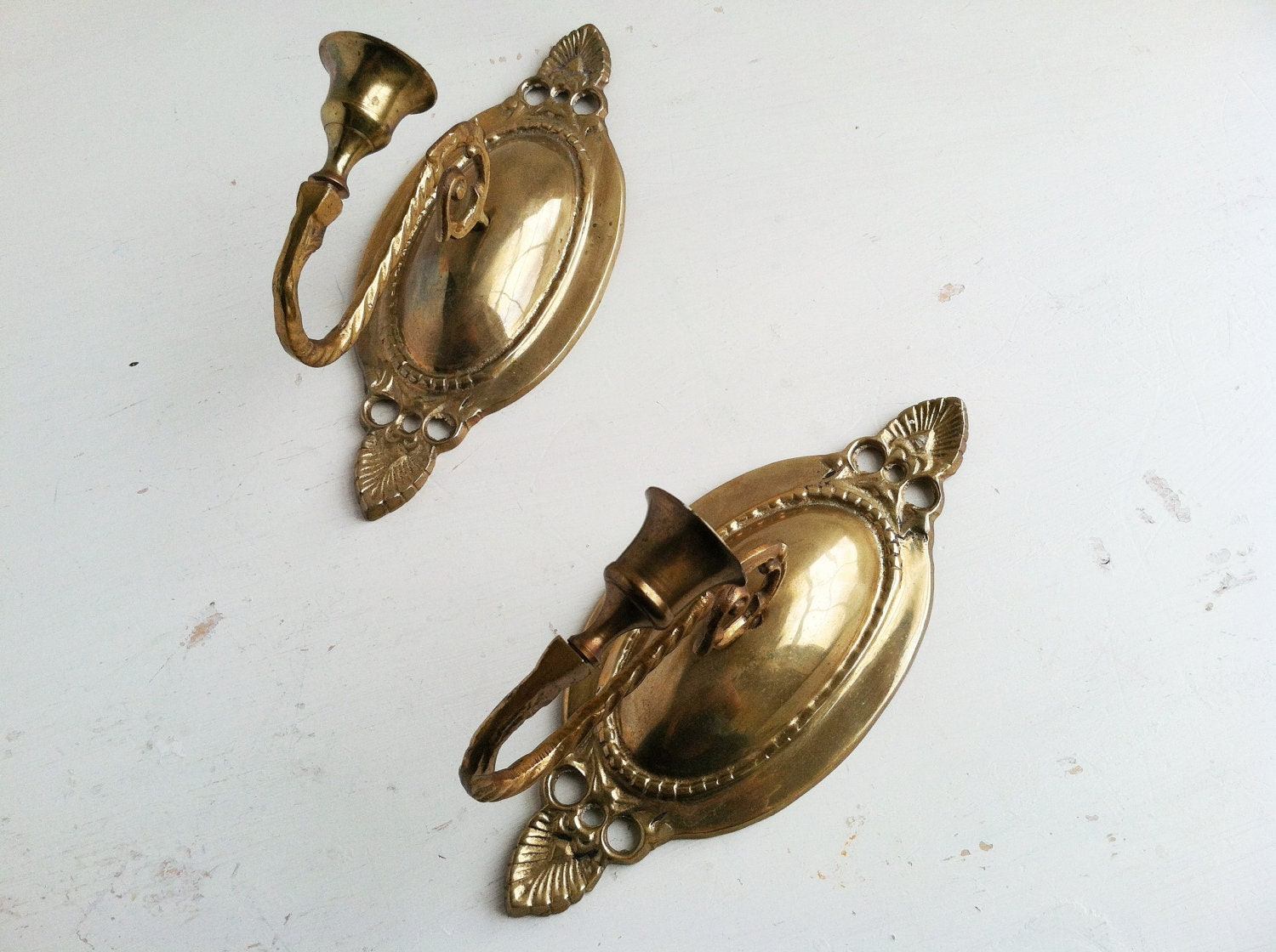 Brass Wall Sconces Candle Holders : Vintage Brass Wall Sconce Candle Holders by KindlingVintage