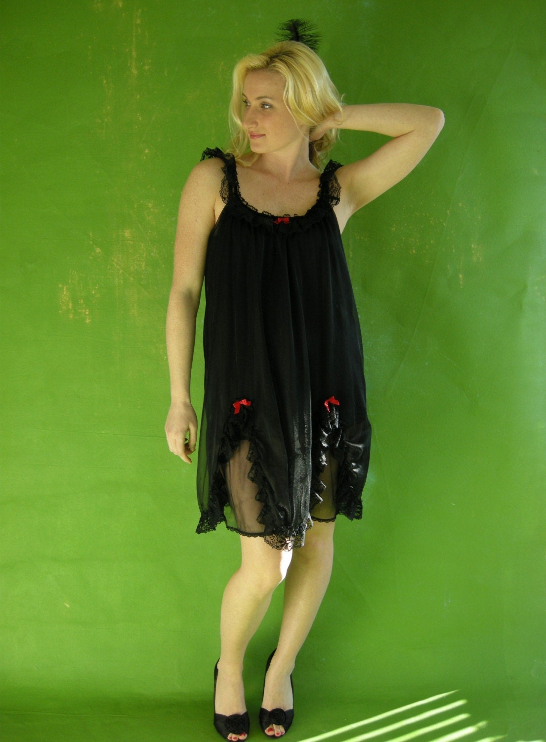Black Ruffles Double Chiffon Lacy Vintage Babydoll by empressjade from etsy.com