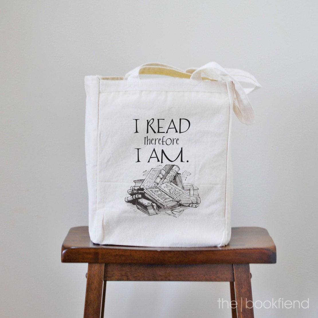 I read therefore I am canvas book tote bag