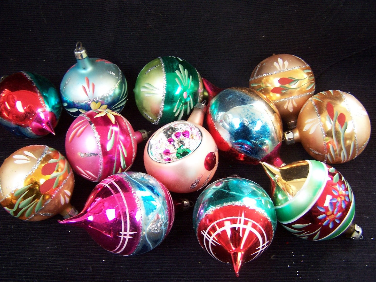 Poland glass ornaments mercury glass Christmas vintage