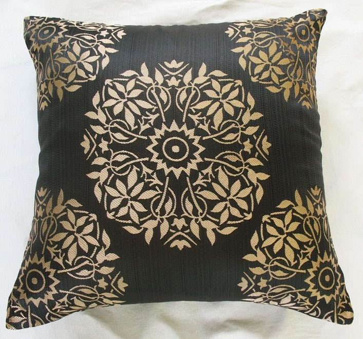 Decorative Pillows Black And Gold : dull gold black decorative throw pillow by Comfyheavenpillows