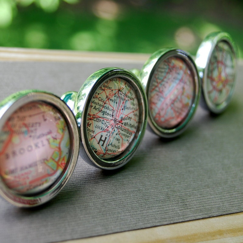 Vintage Map Drawer Pull Cabinet Knob Handle - Custom - You Pick Location