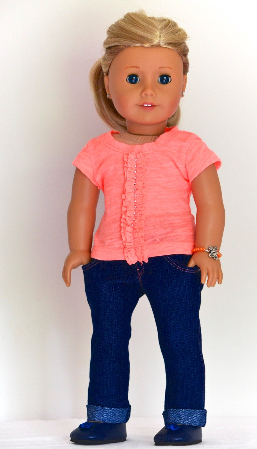 18 inch, American Girl  Doll Clothing. Skinny Jeans, Fashion Knit T-Shirt, bracelet