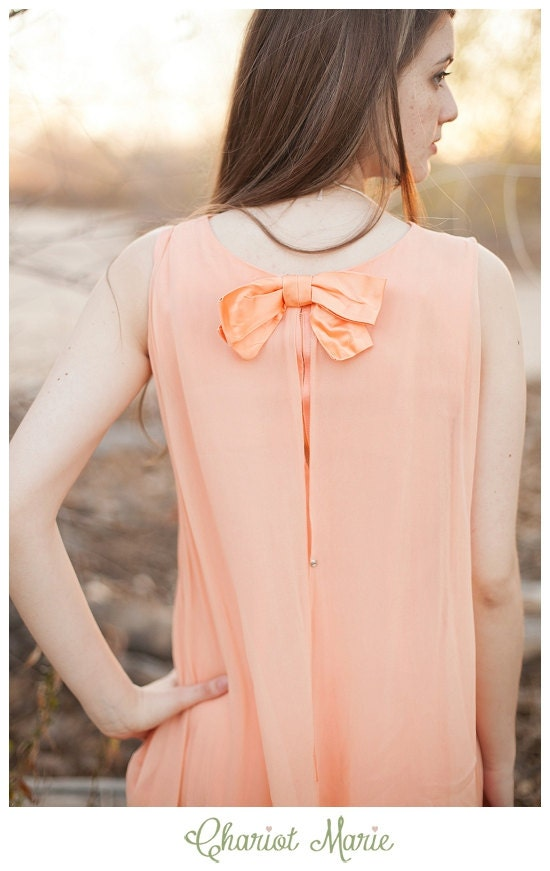 Pastel Peach High Low Sheer Maxi Dress with Bow Accent - ChariotMarie