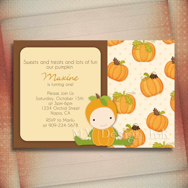 little pumpkin birthday invitation little pumpkin by mvdesignink