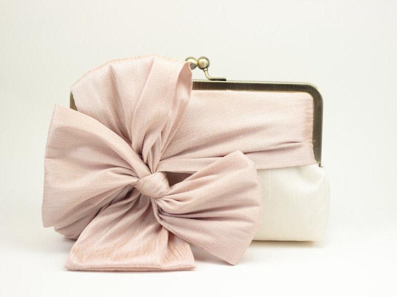 Bridal Clutch / Wedding Clutch / Bridesmaid Clutch Purse (Classic Bow Clutch : Blush on Ivory) - DavieandChiyo