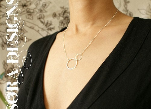 Lightness- sterling silver hand formed circles necklace (Free shipping) - a great gift