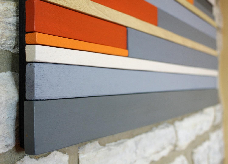 Large Wall Art Wood Sculpture Wood Wall Art Orange Red Grey Abstract Art Home Decor Office Art Modern Art Reclaimed Wood Art.
