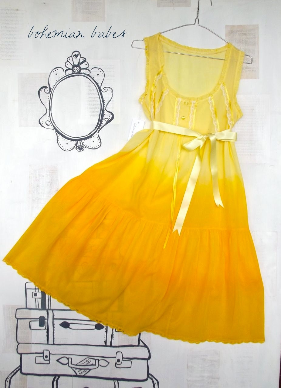 SUNSHINE Women's Ombré Up-cycled DRESS Size 14 (us 10) yellow OOAK cotton hippie boho gypsy bohemian hippy dye recycleparty oz au wandarrah - bohemianbabes