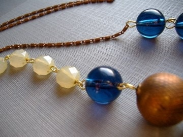 Cobalt, Copper and Citrus Vintage Beaded Chain
