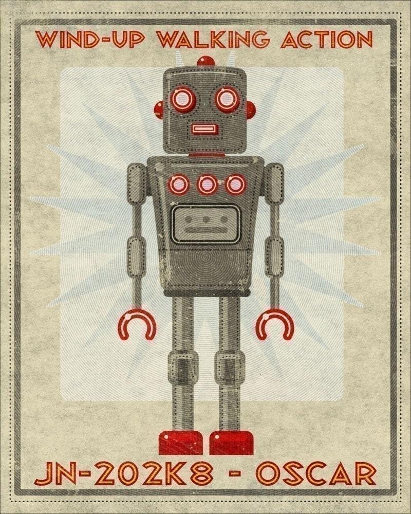 Oscar Box Art Robot Print 12 in x 15 in