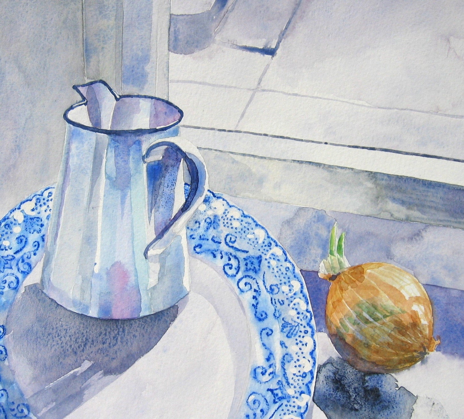 Water jug and onion - Original Watercolour painting
