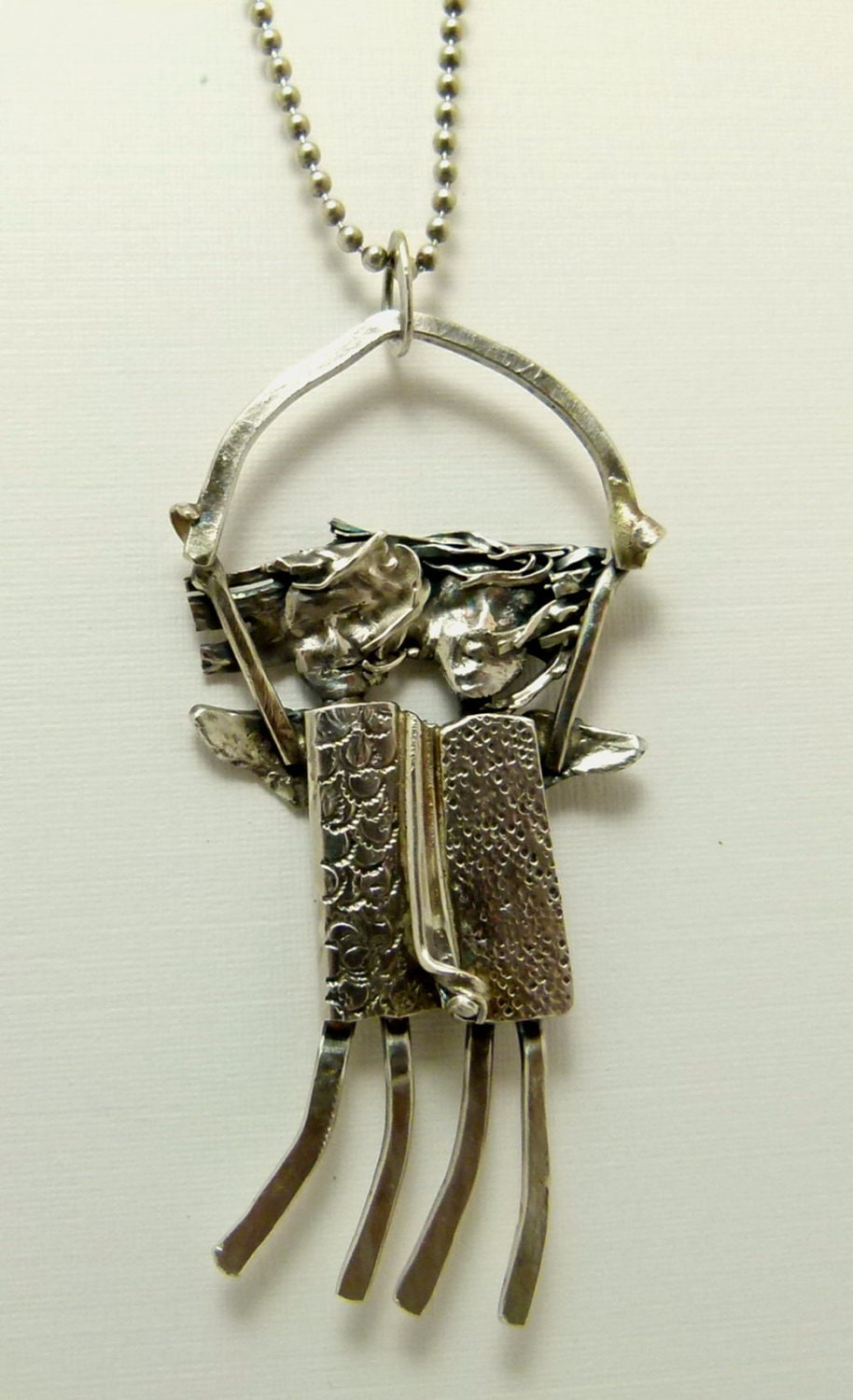Angels Margo and Mia Embrace To Fly - Re-purposed Sterling Silver And PMC - Pendant - 520