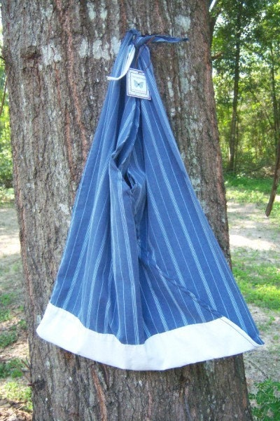 Recycled Blue Pinstripe Pillowcase Tote