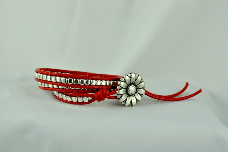 Red Leather Wrap Bracelet, Silver Triple Wrap Bracelet, Free Shipping